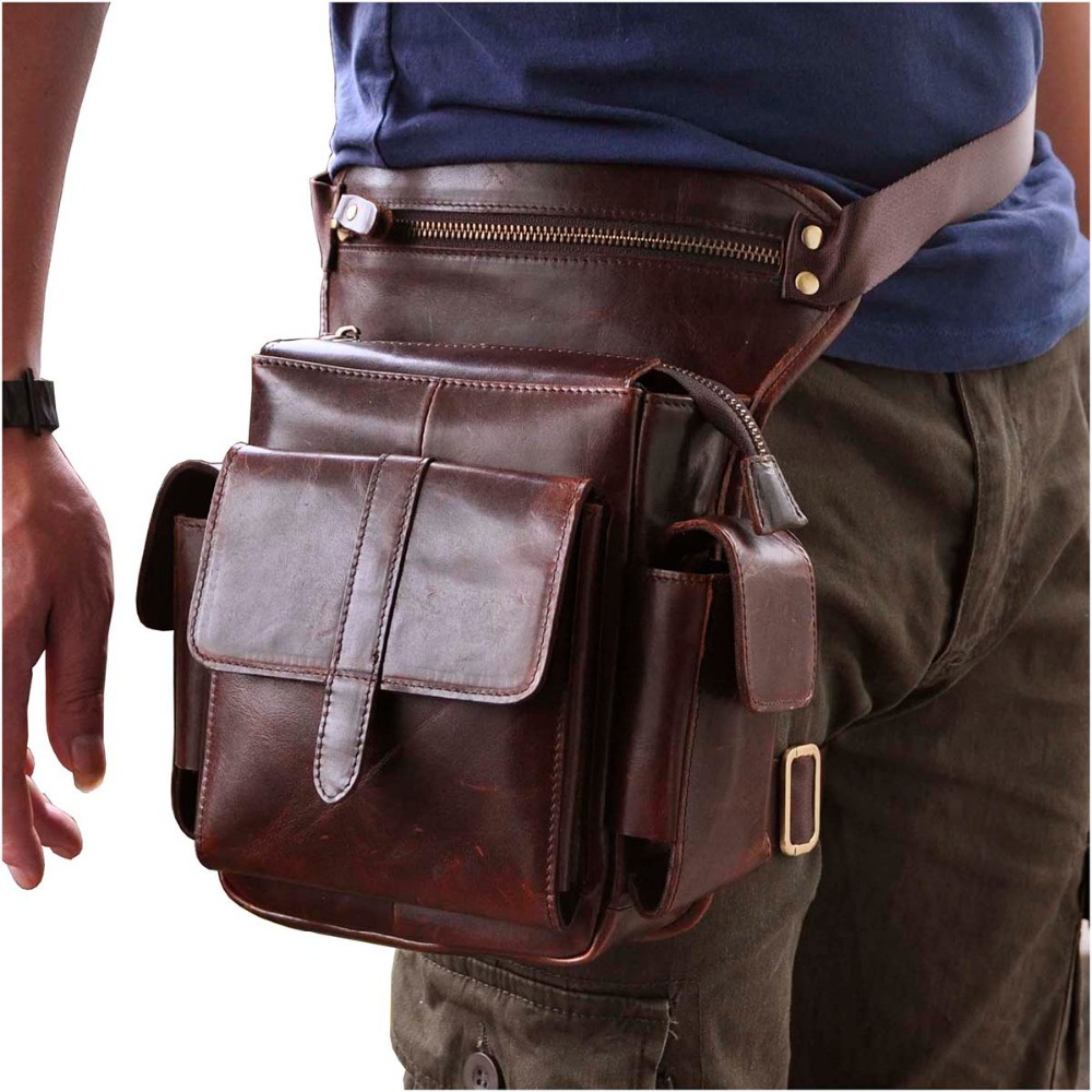 Fine Jewelry Hot Sale Crazy Horse Real Leather Design Men Vintage Coffee Small Belt Messenger Bag Waist Pack Drop Leg Bag Pouch 3106db Fine Quality