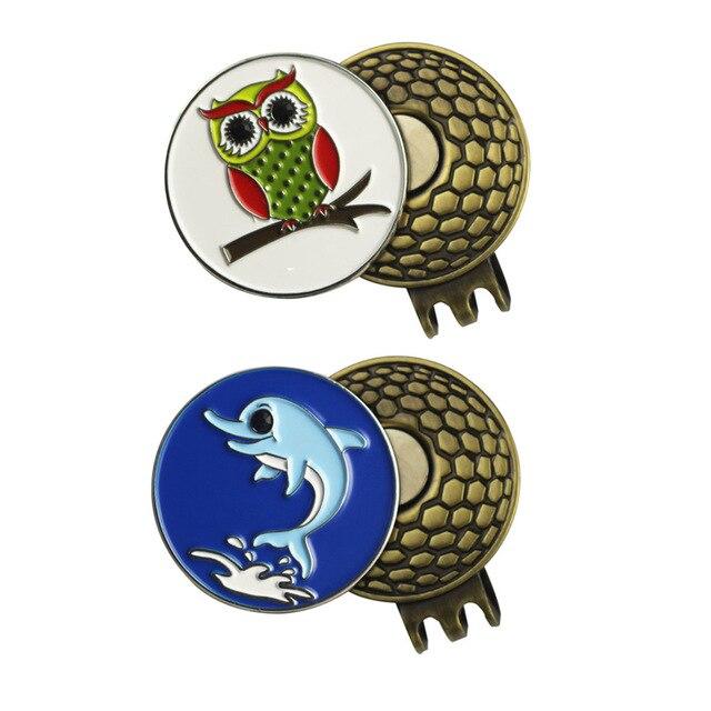Neue Stile Eule und Delphin Golfball Marker mit 2 Starke Magnet Golfhut  Clips 8c613622f951