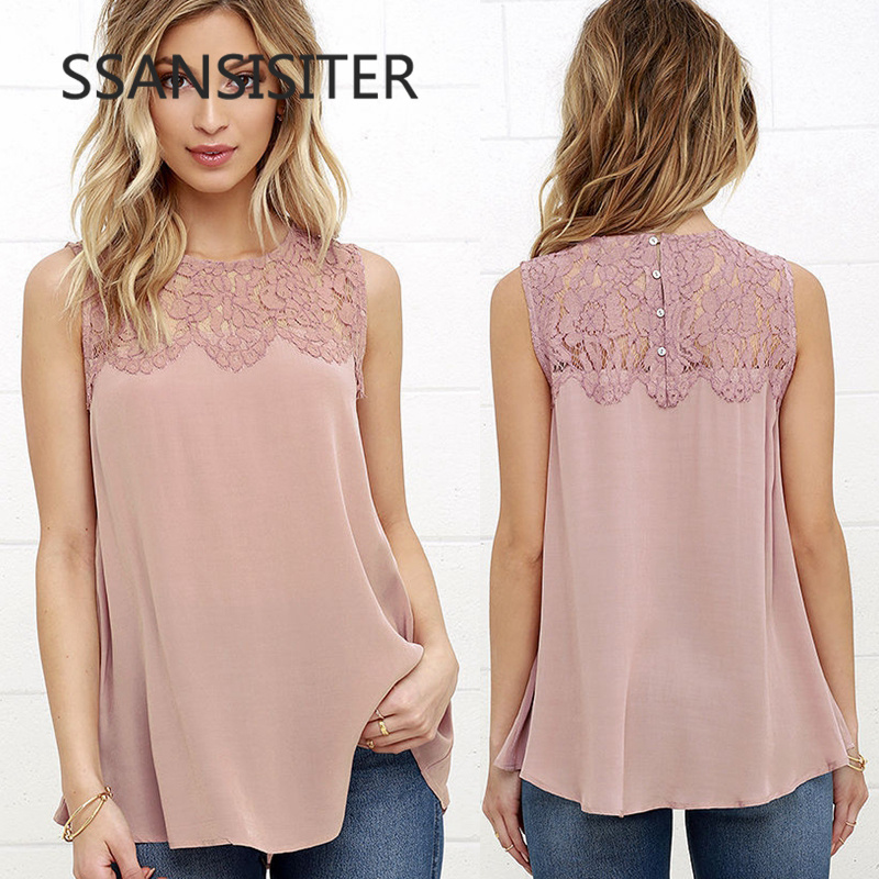 Ladies Office   Shirts   Pink White Floral Lace Chiffon   Blouse     Shirt   Women Sleeveless Top   Blouses     Shirts   Female Crochet Tops
