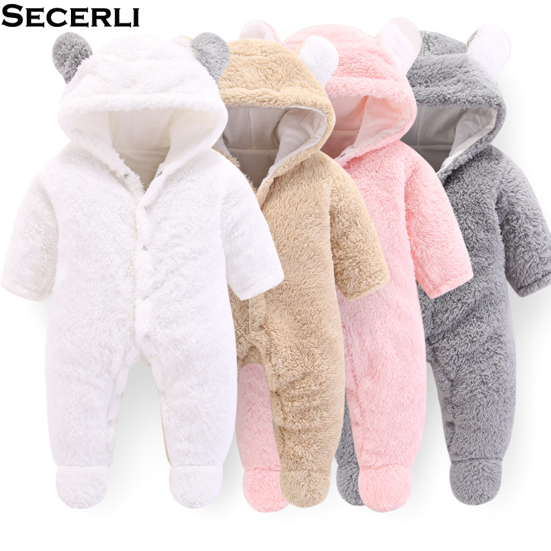 2018 New Autumn Winter Baby   Rompers   1 to 12M Kids Newborn Footies Bodysuit Hooded Infant Cotton Jumpsuit Baby Boy Girl Clothing