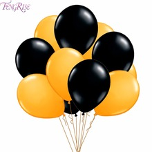 FENGRISE 10pcs Black Latex 12Inch Birthday Balloons Happy Party Decoration Kids Gold Air Balloon Gifts Wedding Decorate