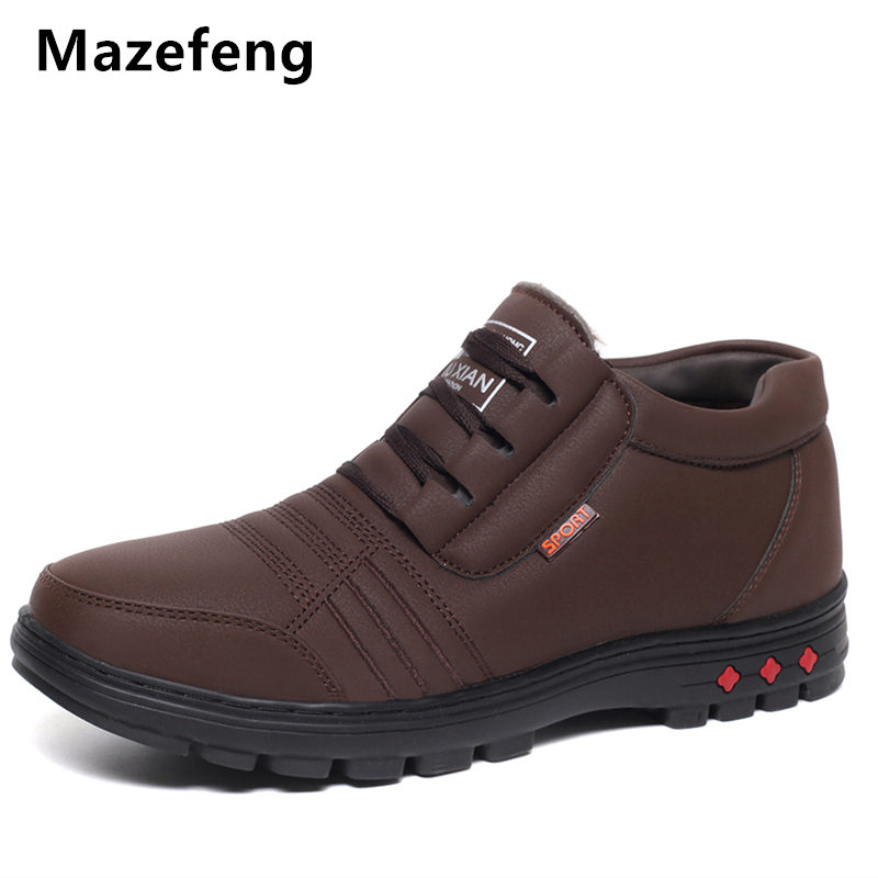 Mazefeng New Winter Shoes Male Casual Boots Keep Warm Fashion Men Boots Thick Solid Men Ankle Boots Lace-Up High quality Shoes