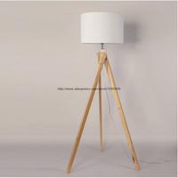 Modern Tripod Wood Floor Lamp Bedroom Living Room Stand Bedside Floor Light Lighting