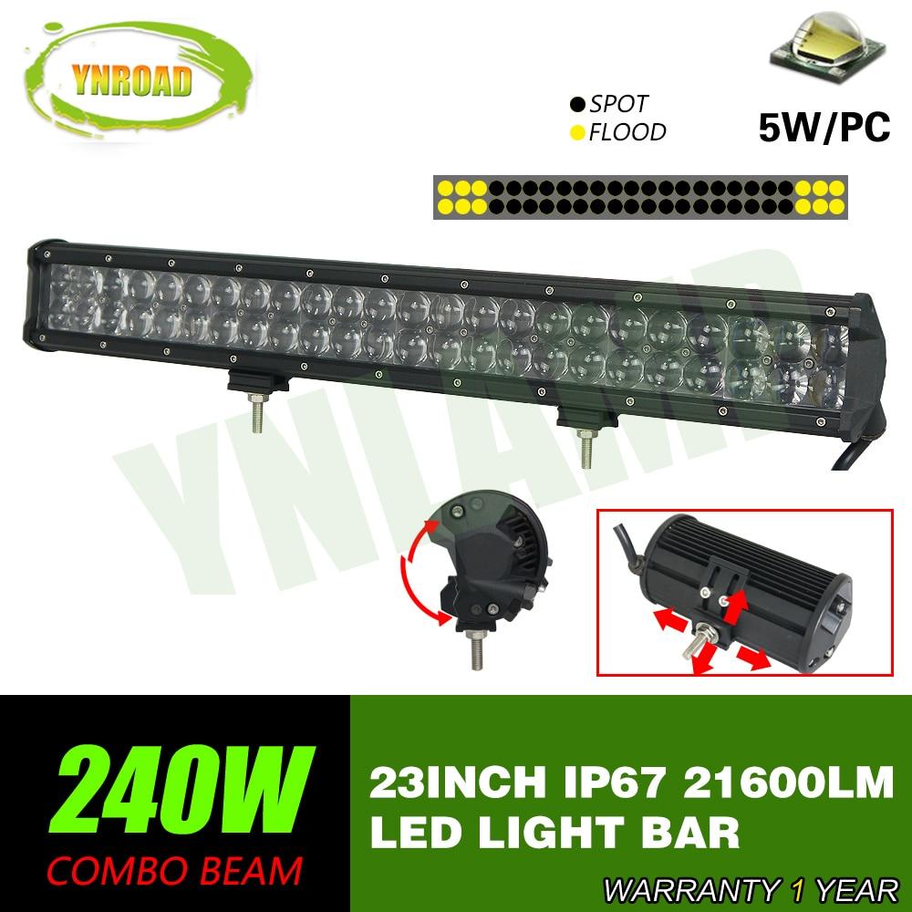 YNROAD 240w 23inch Led Light Bar 4D optical lens work light 4x4 UTV 4D SUV Truck