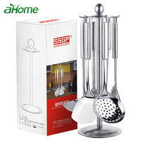 stainless steel cooking utensils kitchen 6 pics with storage Rack Spatula Colander Cookware Kitchen Tools serving Soup spoon