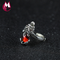 Luxury Đá Tự Nhiên Ngọc Màu Đỏ Wedding Ring Cho Phụ Nữ 100% 925 Sterling Silver Ring Fine Trang Sức Cổ Điển Đồng Xu May Mắn Động Vật SR17