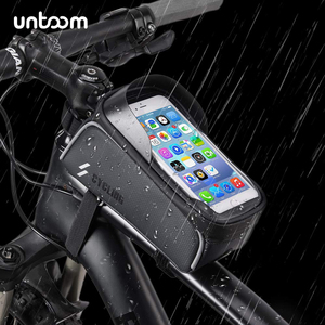 Image 1 - Bike Bicycle Waterproof Cell Phone Bag Holder MTB Front Frame Tube Bag Case 6.0 inch Rainproof Saddle Bag Bicycle Accessories