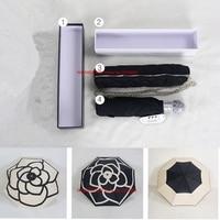 Classic pattern Camellia Flower logo Umbrella For Women 3 Fold Luxury Umbrella with gift Box And Bag Rain Umbrella