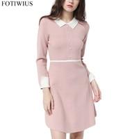 2018 Autumn Winter Sweater Dress Women Peter Pan Collar Pearl Elegant Pink Knitted Dress Ladies Tunic Dresses Robe Femme