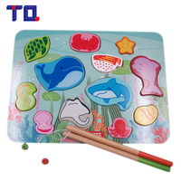 TQ Brnad 1PCS Baby Wooden Toys Magnetic Fishing Game Jigsaw Puzzle Board 3D Jigsaw Puzzle Children