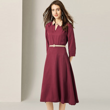 Summer Women's Dress 2019 New Turn Down Collar Fashion Three Quareter Sleeves Solid Color Vintage Slim A-Line French Style Dress dress summer woman 2019 new turn down collar batwing sleeves solid color slim drawstring waist a line casual dress midi s xl