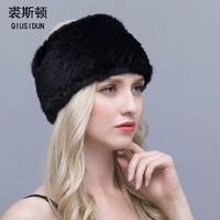QIUSIDUN Real Mink Fur Scarf Women's Scarves Fashion 2017 New Quality Winter New Mink Scarf Knitted Mink Fur Headband