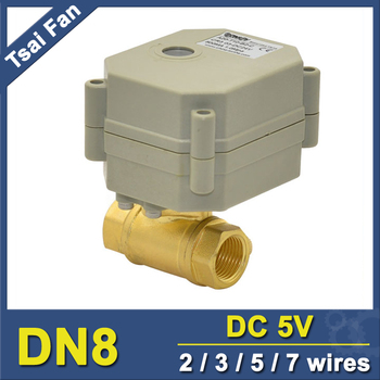 TF8-B2-C DC5V 2/3/5/7 Wires 2 Way Brass 1/4'' DN8 Electric Motorized Valve Metal Gear On/Off 5 Sec For Water Application фото