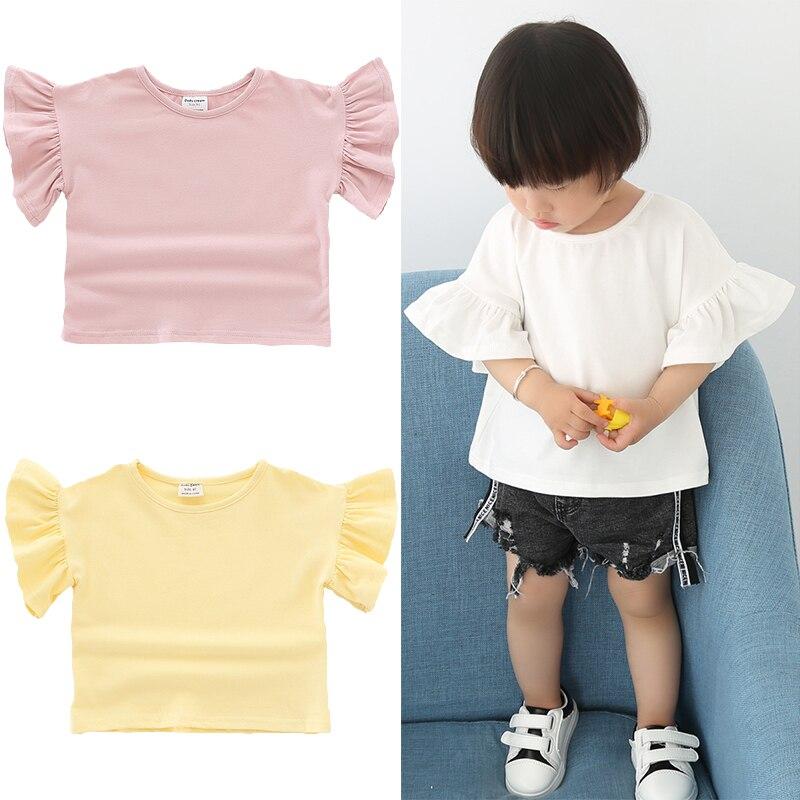 2019 Neuestes Design 2019 Sommer Baby Mädchen Baumwolle Casual T-shirt Einfarbig Kurze Rüschen Ärmeln Stil Infant Kinder Neugeborene Mädchen Sweatshirt Tops