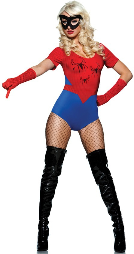 Fast Delivery New Fashion Adult One Piece Spider Cosplay Costume Red Blue Spider Uniform Halloween Costumes For Women
