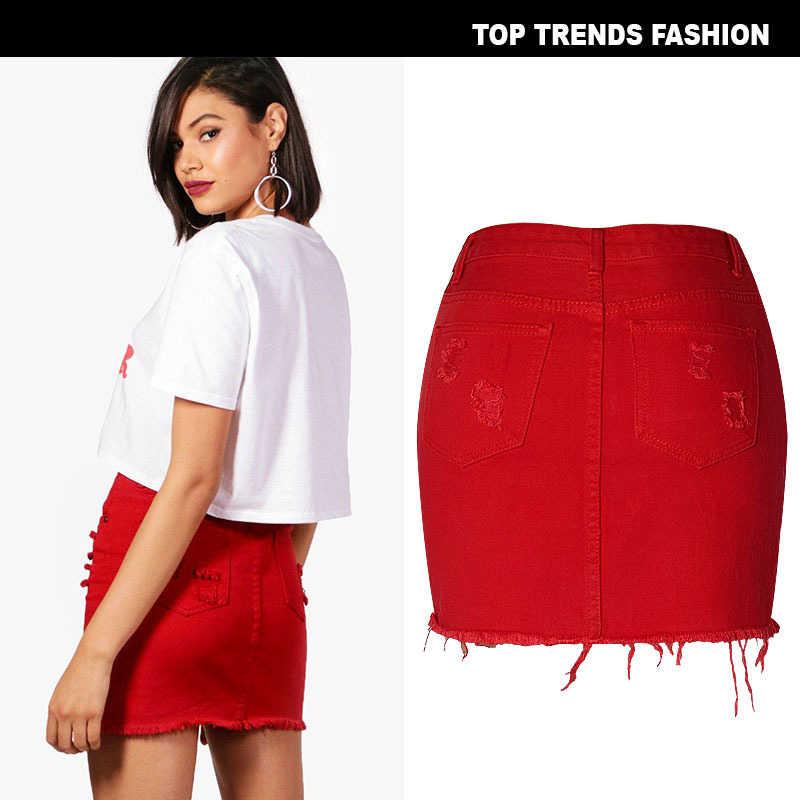 Moda sexy de cintura alta Mujer bolsa de jeans cadera falda de mezclilla rojo gran tamaño agujero irregular nuevo color helado mini falda B018