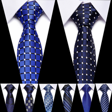 Fashion Mens Tie 7CM Blue Silk Neckwear Floral Dot Jacquard Woven Classic Neck Ties For Men Formal Business Wedding Party Groom