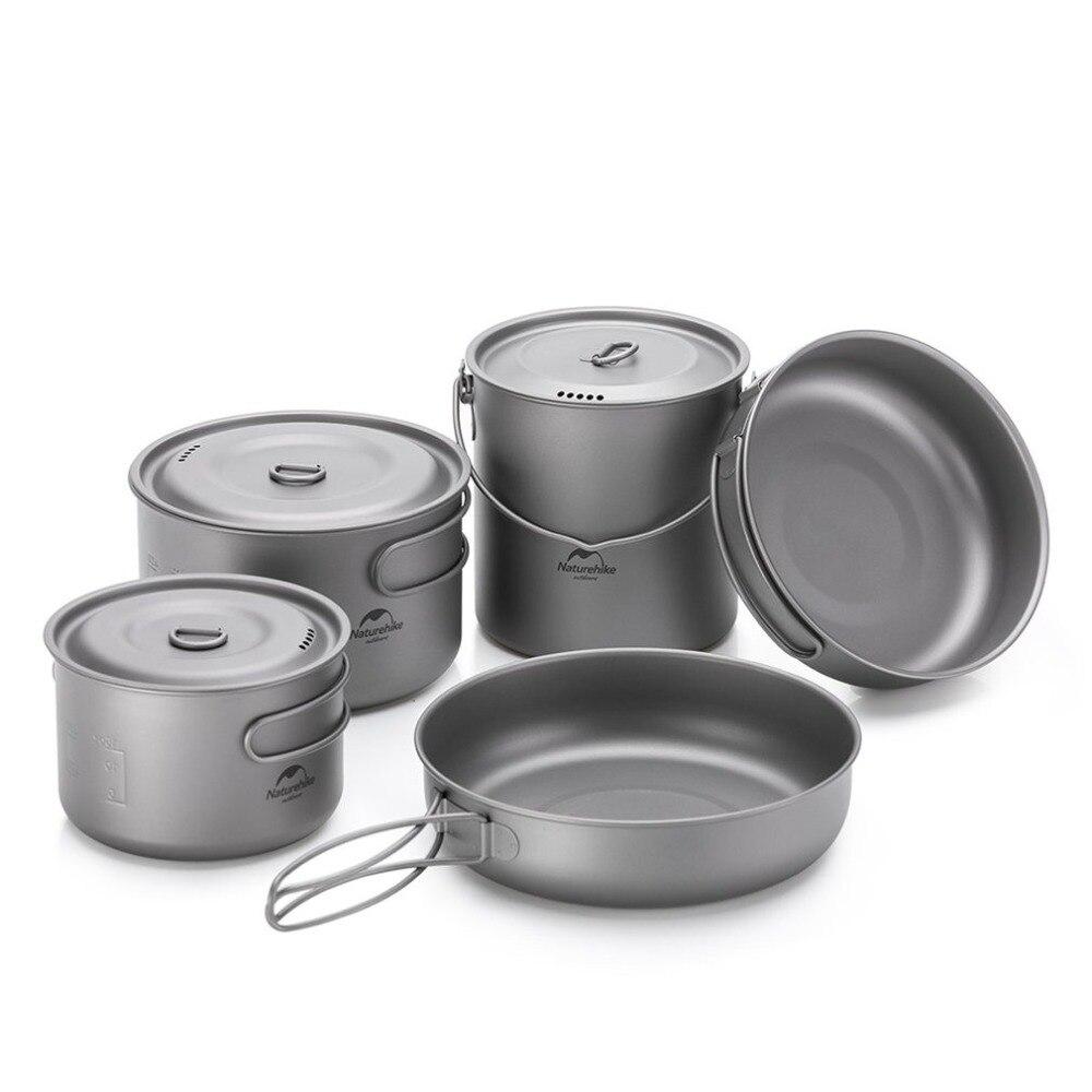 Pot de titane en plein air poêle tasse tasse ultra-légère Camping randonnée pique-nique vaisselle ustensiles de cuisine 800 ml 1250 ml