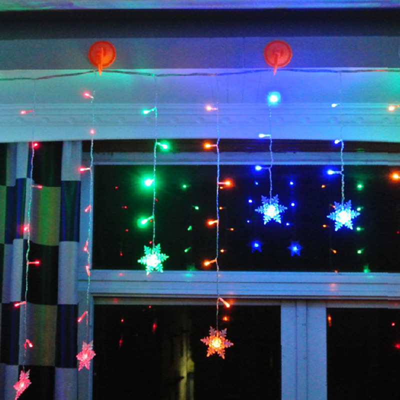 Connect 3M 95pcs Led Curtain Snowflake String lights led fairy lights Christmas Lights Wedding Party Decoration
