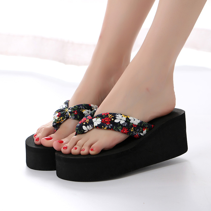 2018 Summer New Sexy High Heel Women Flip Flops Thick Bottom Platform Non Slip Fashion Lady Beach Slipper Home Floor Casual Shoe 2018 summer new arrived fashion men outside beach slippers thick sole comfortable flip flops waterproof non slip home floor shoe