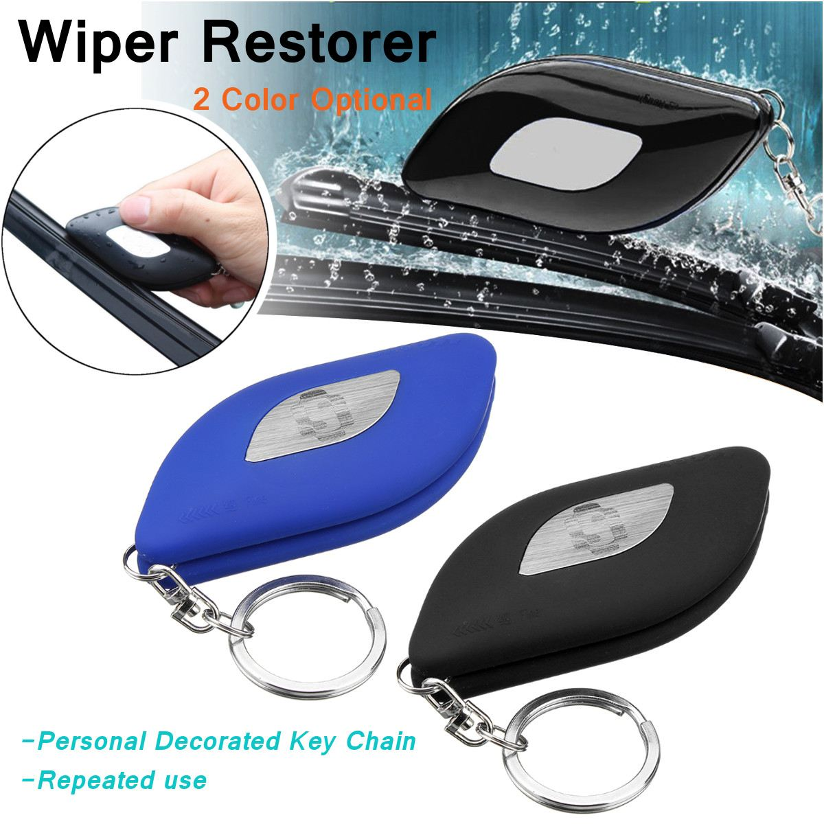 Universal Car Windshield Rubber Strip Restore Wiper Blades Repair Restorer Kit Fine/Rough Blades with Key Ring