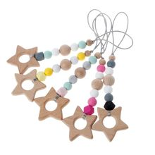 Baby Nursing Rattle Teether Natural Chewable Rings DIY Pendant Baby Play Gym Montessori Toys Shower Gift For Teething