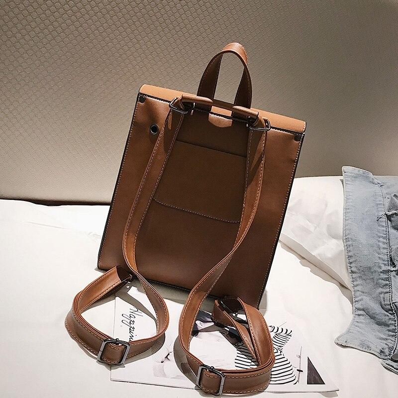 HTB1 iluXPDuK1Rjy1zjq6zraFXau Fashion 2 PCS/SET Leather Women Backpacks for Teenagers female Back Pack Large Capacity Pu Travelling Bags Vintage school bag