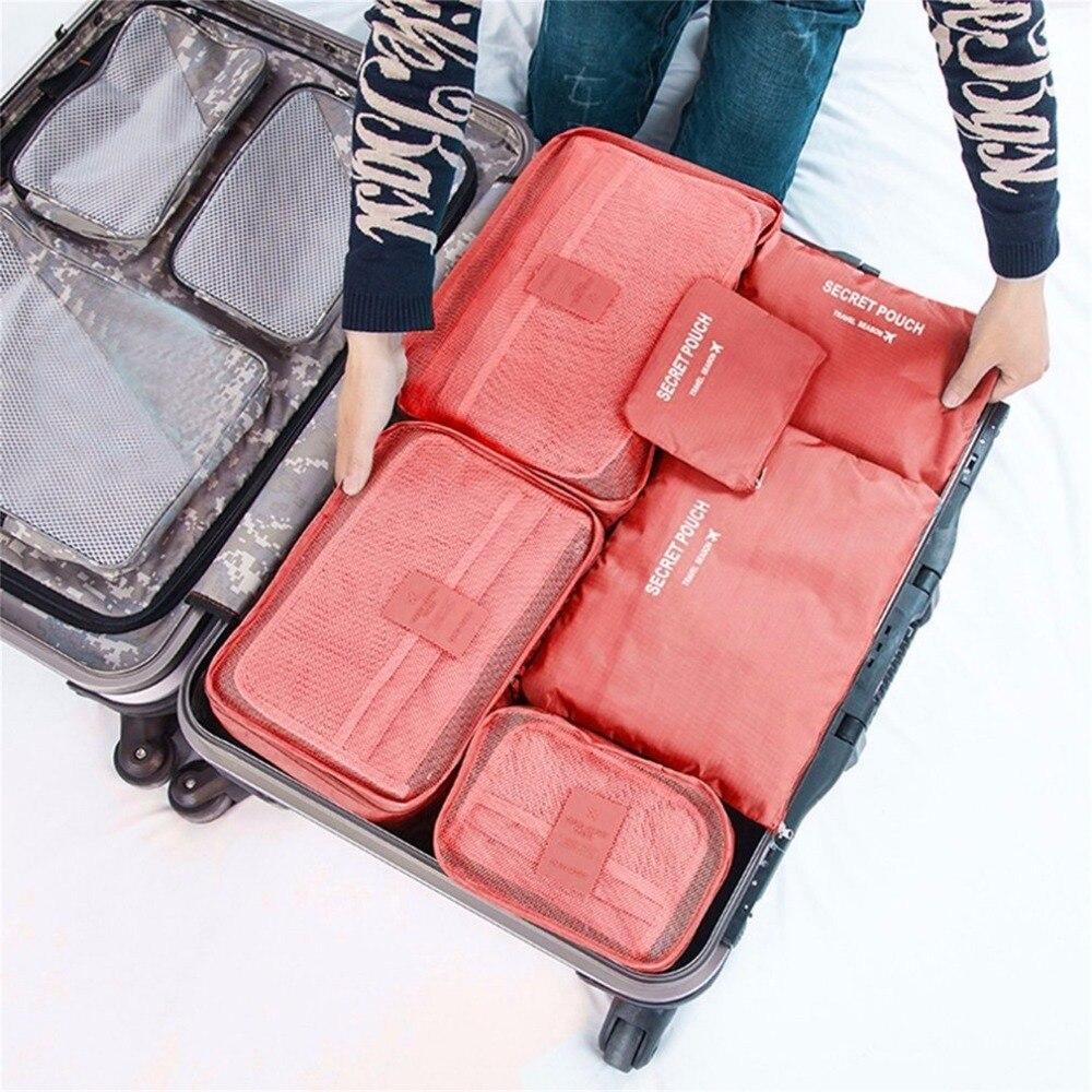 2018 6pcs/set Women Rganiser Organizers Bag Travel Bags Nylon Packing Cubes Portable Lar ...