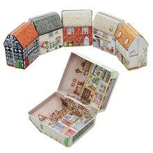Caja de regalo de boda Vintage en forma de Casa Mini Paquete de regalo estaño caja dulces hornear galletas caja decoraciones para el hogar