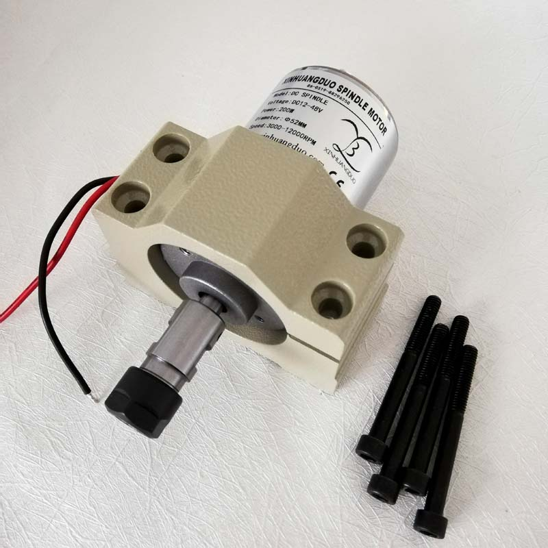 200W DC Spindle Motor 0.2KW 12-48V ER11/3.175 ER16 /8mm collect + The New 52mm clamp Mount bracket fixture for PCB CNC Machine