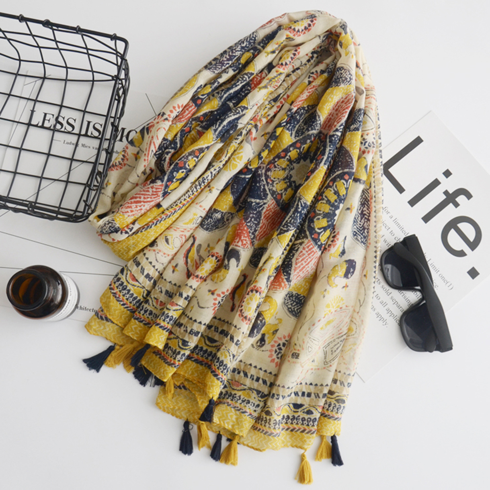 New Vintage Sunflower Pattern Scarves Women Silk Cover Up Scarf Beach Travel Shawl