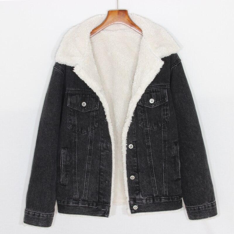 2018 Winter Wool Liner Jeans Jackets Women Black Thickening Fleeced Demin Coats Femme Wide Waisted Flocking