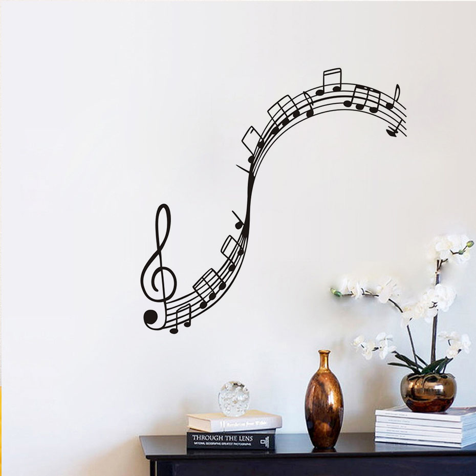 2019 New Art Music Note Wall Sticker For Bedroom Decor Music Room