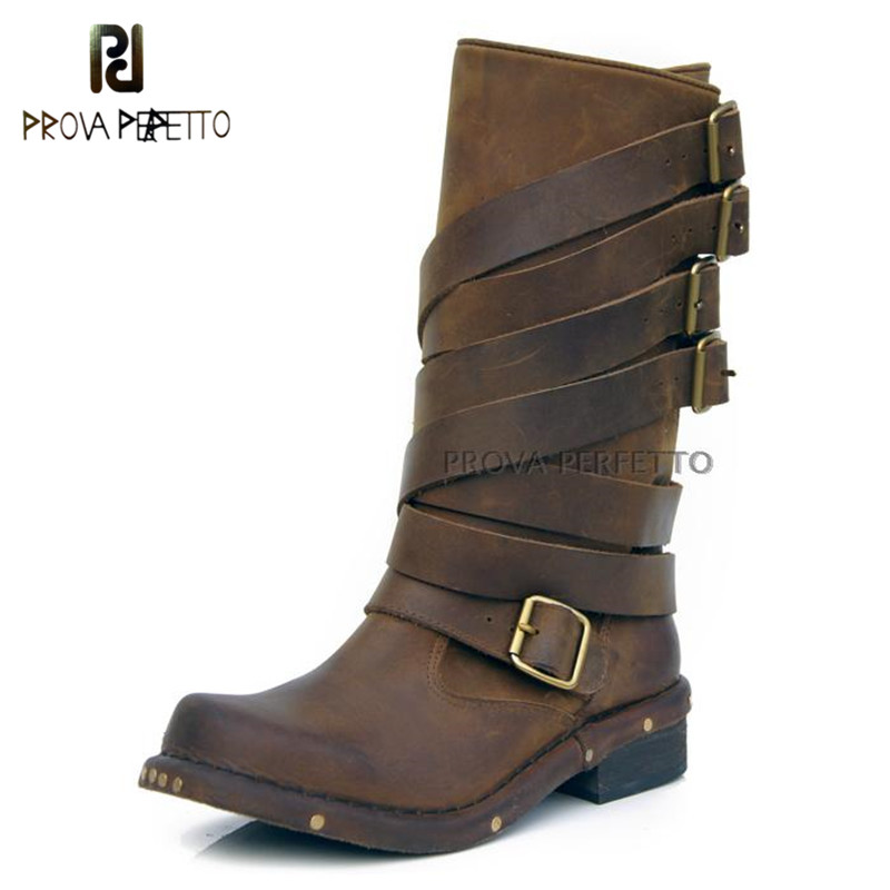Prova Perfetto 2018 High End Euramerican Style Cow Leather Half Boots Buckle Strap Thick Heel Square Toe Mid-calf Boots RetroProva Perfetto 2018 High End Euramerican Style Cow Leather Half Boots Buckle Strap Thick Heel Square Toe Mid-calf Boots Retro