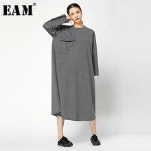 [EAM] femmes multicolore grande taille grande poche robe nouveau col rond à manches longues coupe ample mode marée printemps automne 2019 JY745