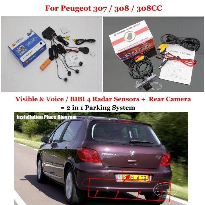 Liislee pour Peugeot 307/308/308CC-caméra de recul pour voiture + capteurs de stationnement = système de stationnement d'alarme visuelle 2 en 1