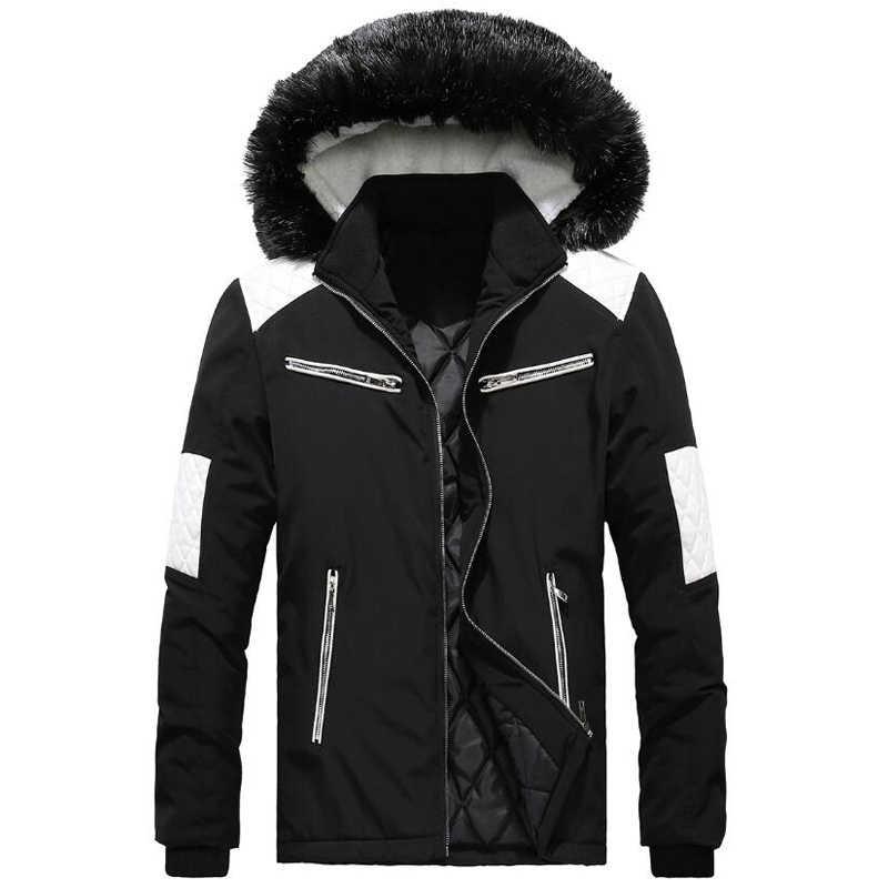 Зимняя парка для мужчин меховой воротник куртка на молнии Одежда 2018 зимняя куртка chaqueta invierno hombre s повседневное пальто с капюшоном