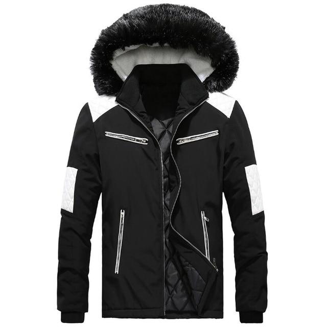 8035d5ea883acd Parka de invierno para hombre con Cuello de piel cremallera ropa de abrigo  2018 chaqueta de