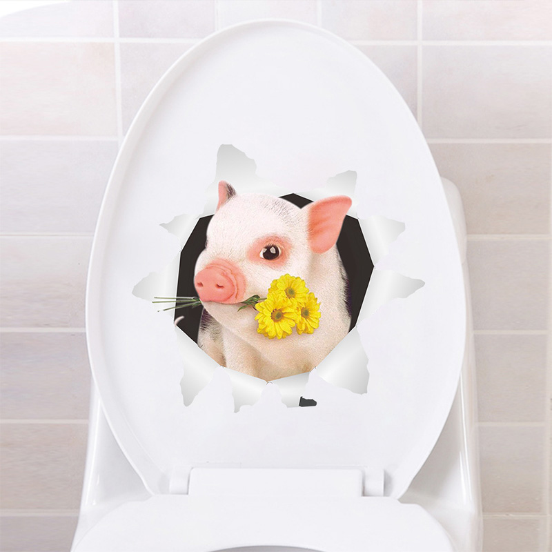 Cute 3D piggy Toilet/Wall sticker for bathroom decoration vinyl home decals waterproof poster lovely animal stickers(China)