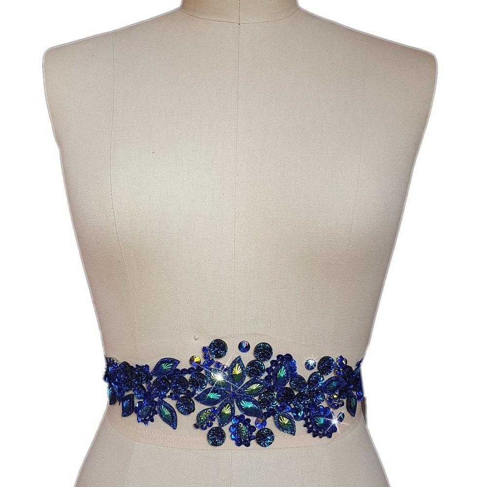 Handmade Bright Crystal Patches Sew-on Blue Rhinestones Applique Beads DIY For Wedding Dress 10x36cm Belt Waist Decoration