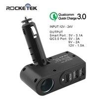 Rocketek auto ladegerät Intelligente IC 3.1A Schnell QC 3,0 Usb-ladegerät Adapter 1 Multi-sockel-zigarettenanzünder-splitter auto-ladegerät