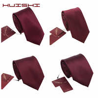 HUISHI Fashion Wine Red Solid Stripe Check Skinny Tie 100% Waterproof Necktie 6cm Tie For Men Formal Business Wedding Party Gift