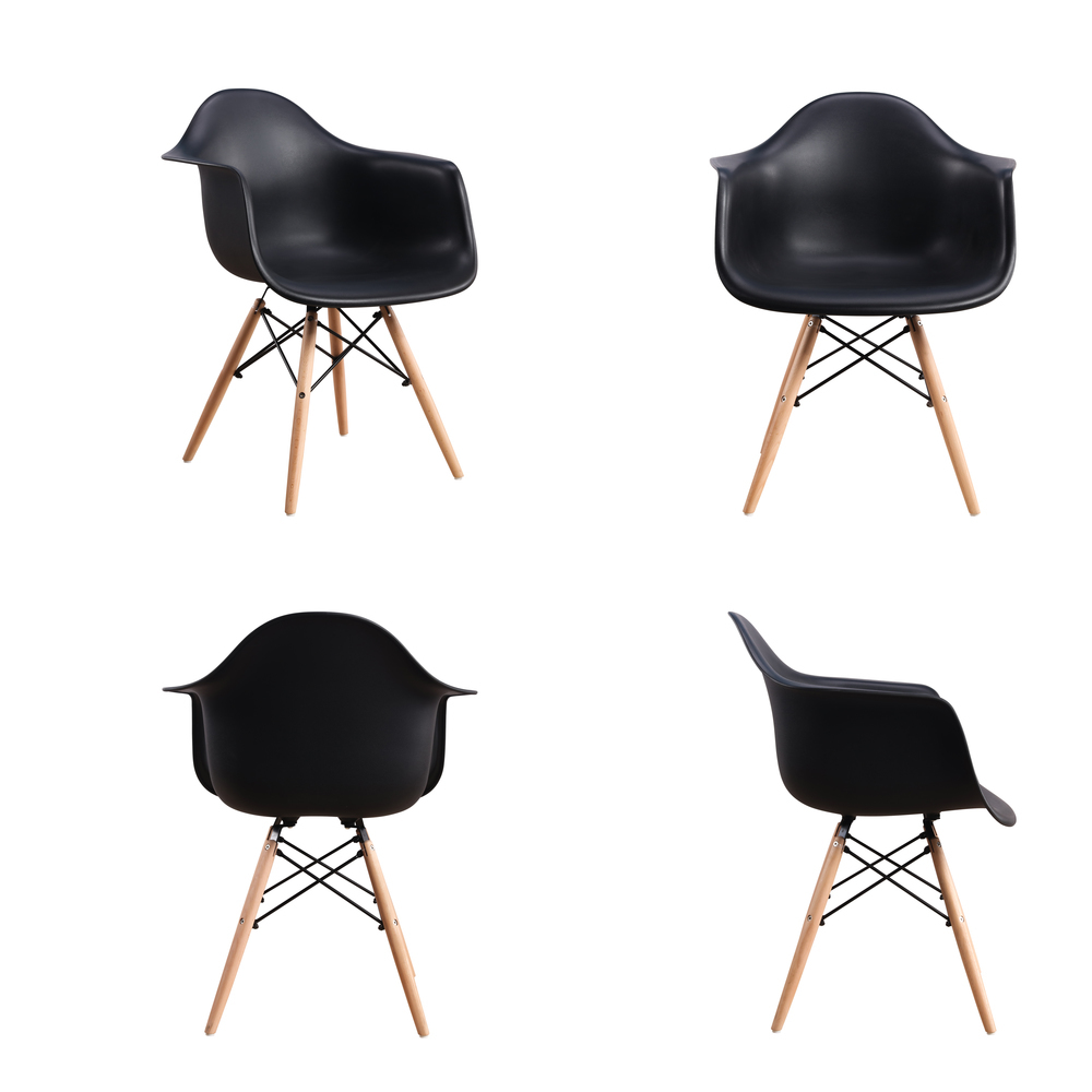 ELERANBE Set of 4 Dining Room Chairs Modern Simple Armchair Reading Office Kitchen Plastic Furniture Wood Leg Black