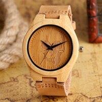 Heren Horloges Hout Bamboe Creatieve Schedel Gothic Stijl Quartz Horloge Mannelijke Klok Lederen Horloges Vrouwen Gift Online