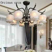 Clássico europeu flor lustre de ferro sala estar quarto estilo americano simples retro lustre vidro frete grátis