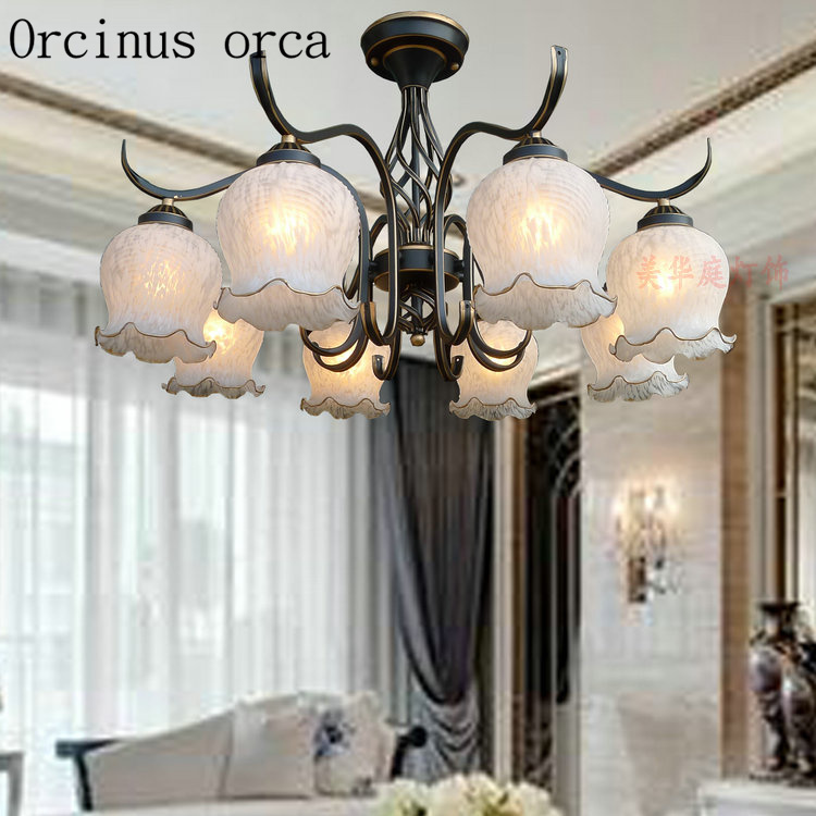 European classic flower Iron Chandelier living room bedroom American style simple retro glass chandelier free shippingEuropean classic flower Iron Chandelier living room bedroom American style simple retro glass chandelier free shipping