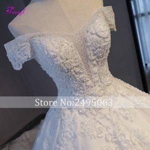 Image 4 - Fmogl Vestido דה Noiva אפליקציות קפלת רכבת אונליין חתונה שמלות 2020 עדין חרוזים סירת צוואר כלה נסיכת תחרה