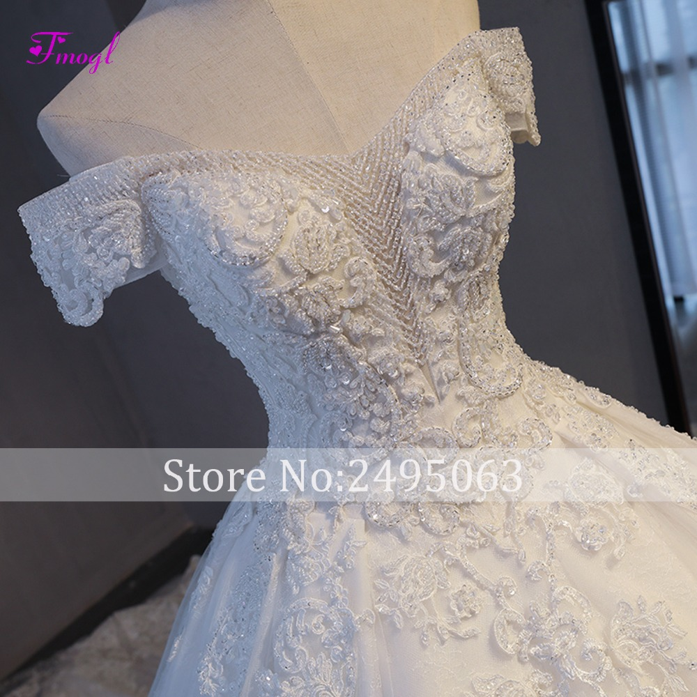 Image 4 - Fmogl Vestido de Noiva Appliques Chapel Train A Line Wedding Dresses 2019 Delicate Beaded Boat Neck Lace Up Princess Bridal Gown-in Wedding Dresses from Weddings & Events