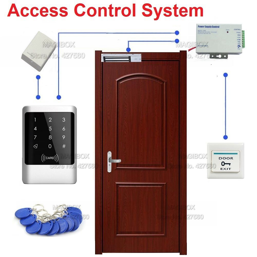 IP68 125KHz RFID Waterproof Touch Keypad  Door Access Control System Set 280kg(600lbs) Magnetic Lock+ Power Supply+Switch metal rfid em card reader ip68 waterproof metal standalone door lock access control system with keypad 2000 card users capacity