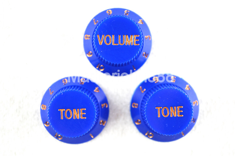 1 Set of Electric Guitar Control Knobs Blue With G...